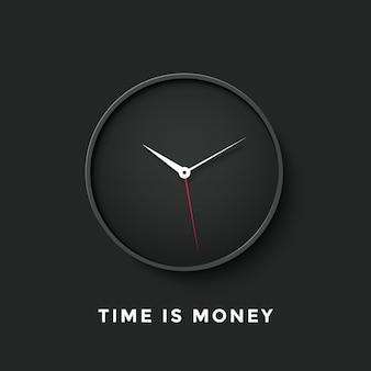 Czarny zegar z komunikatem czas to pieniądz