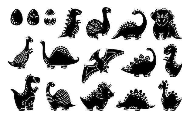 Czarny zestaw dinozaurów. kolekcja kształtów gadów, dino drapieżników i roślinożerców.