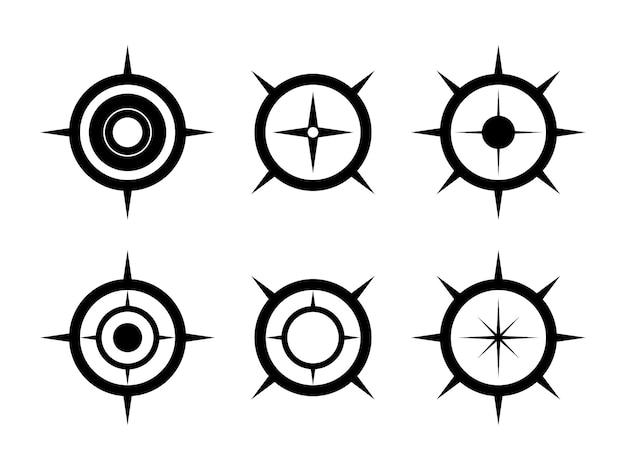 Czarny zestaw symboli kompasu. strzałka północy do mapowania.