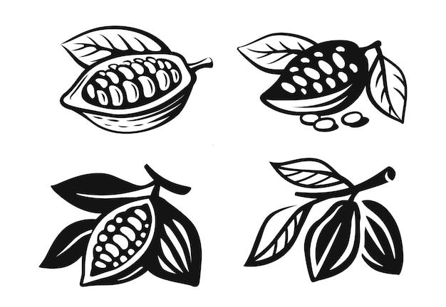 Czarny zestaw ziaren kakaowca