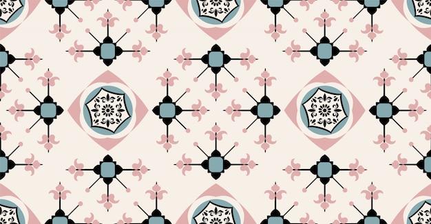 Czarny zielony różowy krem geometryczny wzór