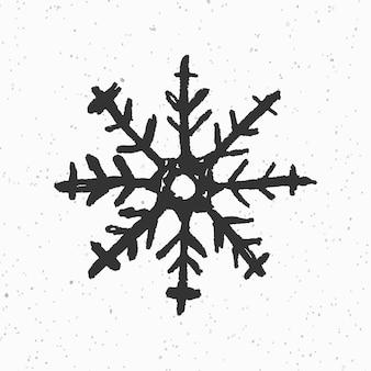 Czarny zimowy płatek śniegu w stylu bazgroły