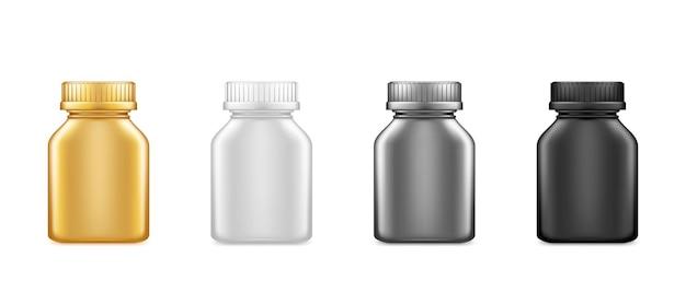 Czarny, złoty, srebrny medycyna plastikowa kwadratowa butelka makieta na białym tle