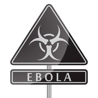 Czarny znak niebezpieczeństwa wirusa ebola