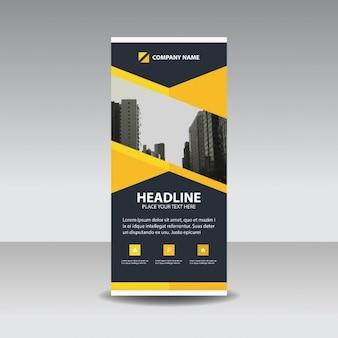 Czarny żółty oszczędny roll up banner template