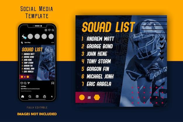 Czarny żółty sportowy sportowy futbol rugby szablon postu w mediach społecznościowych