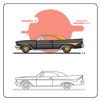 Czarny żółty stary samochód łatwy do edycji