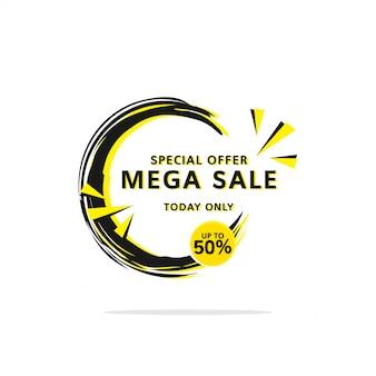 Czarny żółty super wyprzedaż do 50% szablon etykiety baner zakupy w stylu płaski