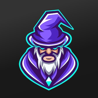 Czarodziej ojciec czarownica maskotka sport projekt ilustracji dla drużyny logo esport gaming team
