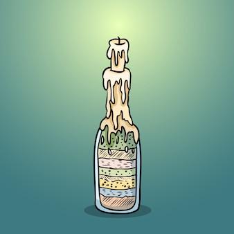 Czarownica butelka doodle wizerunek