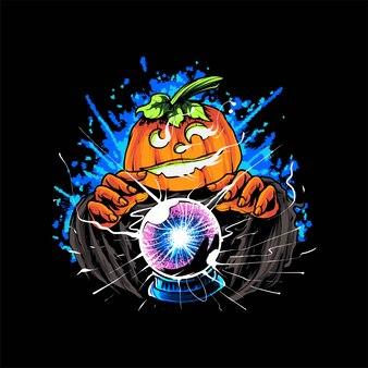 Czarownica dynia z kulą plazmową ilustracja, nadaje się do t-shirtów, odzieży, nadruków i produktów reklamowych