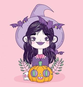 Czarownica dziewczyna cukierek albo psikus happy halloween