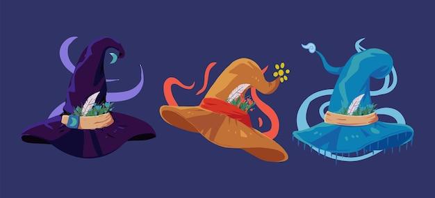 Czarownica i czarodziej kapelusz kolekcja ilustracji