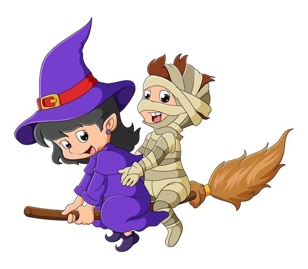 Czarownica i mumia lecą razem z magiczną miotłą ilustracji