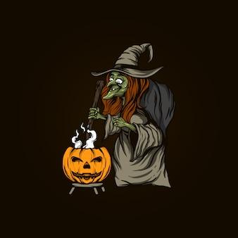 Czarownica ilustracja halloween