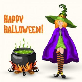 Czarownica, kocioł z trucizną i napisem halloween, karta z pozdrow