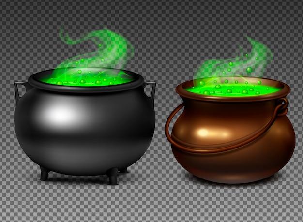 Czarownica kociołki z magicznym zielonym napojem miłosnym na przejrzystym tle realistyczny set odizolowywali ilustrację
