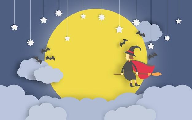 Czarownica latania na miotle stylu sztuki papieru w jasne nocne niebo i tło w pełni księżyca