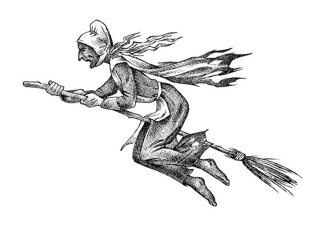 Czarownica leci na miotle na białym tle