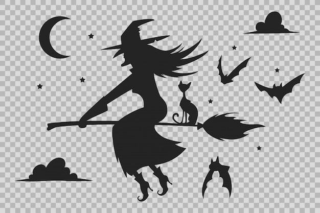 Czarownica na miotle, czarna sylwetka kota i nietoperzy. halloweenowe sylwetki odizolowywać