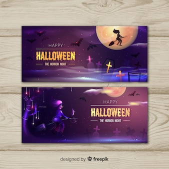 Czarownica na miotle halloween banery