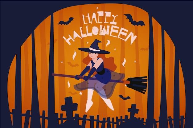 Czarownica na miotle halloween tle