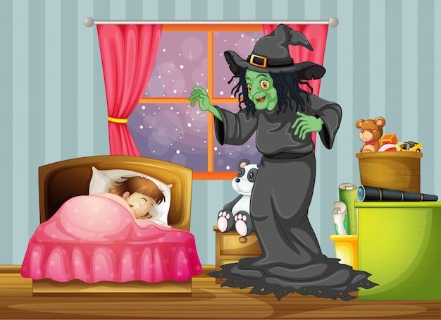 Czarownica patrząc na dziewczynę śpiącą w pokoju