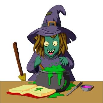 Czarownica przygotowuje miksturę