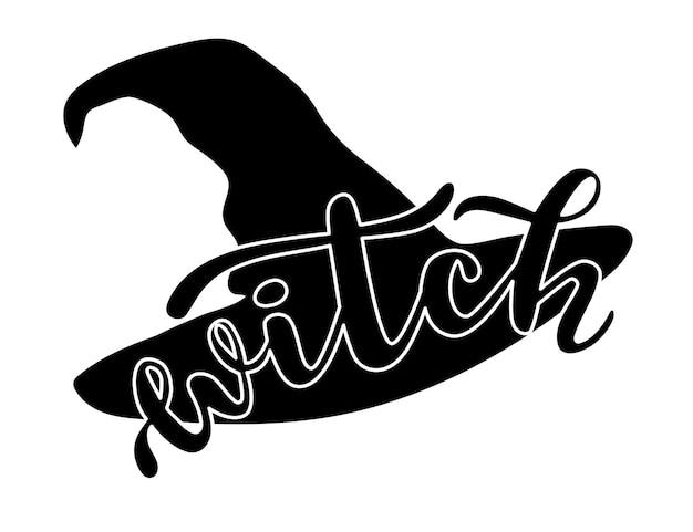 Czarownica słowo na czarny kapelusz sylwetka halloween sezon strony napis logo ikona
