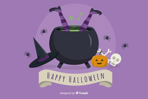 Czarownica spada w garnka halloween tle