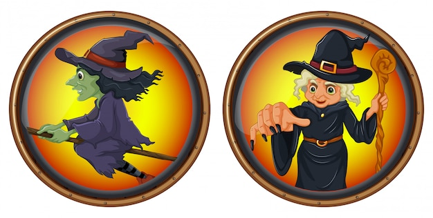 Czarownice na okrągłych znaczkach