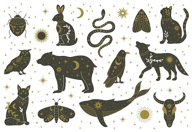 Czary magiczne mistyczne boho doodle zwierząt i owadów. magiczny kot, lis, wilk, sowa, wieloryb ozdobiony księżycem, gwiazdami, liśćmi wektor zestaw ilustracji. magiczne zwierzęta boho