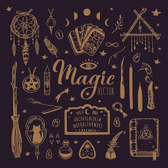 Czary, magiczne tło dla czarownic i czarodziejów. wicca i pogańska tradycja.