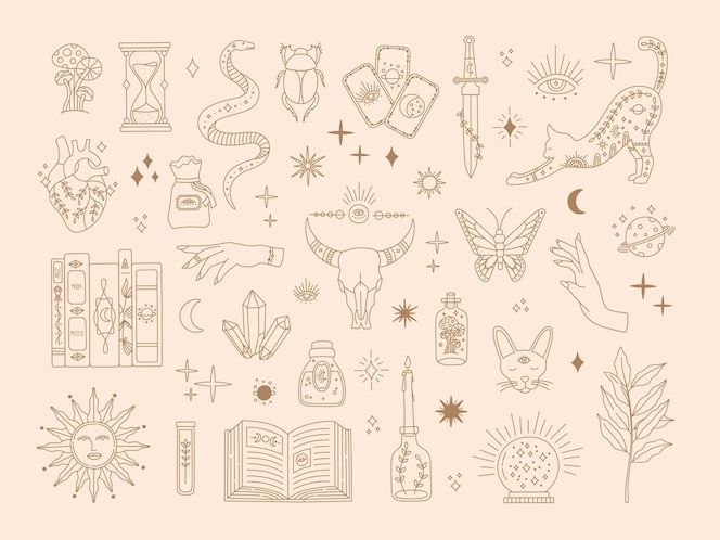 Czary święty duży zestaw, mistyczne magiczne symbole do tatuażu flash, ręcznie rysowane tajemnica kolekcja złota linia sztuki, nowoczesne elementy stylu boho słońce, gwiazdy, oko, eliksir. ikony wektorowe i ilustracja logo