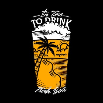 Czas, aby pić świeże piwo ilustracja napis