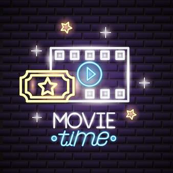 Czas filmu znak neon