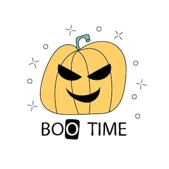 Czas halloween ilustracja z przerażającym charakterem dyni z oczami. ręcznie rysowane sztuki na halloween w stylu cartoon. projekt kartki z życzeniami, dekoracji, plakatu, banera