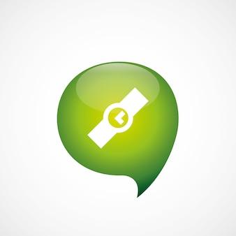 Czas ikona zielona myśl logo symbol bańki, izolowana na białym tle
