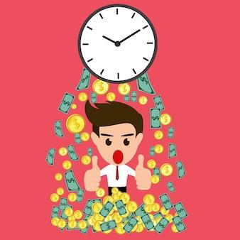 Czas jest pieniądze odrobina szczęśliwy biznesmen