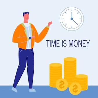 Czas jest pieniądze płaską wektorową ilustracją z tekstem