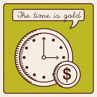 Czas Jest Pieniądze Projekt, Wektorowa Ilustraci Eps10 Grafika Premium Wektorów