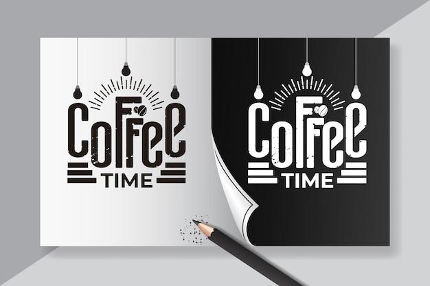 Czas kawy cytuje napis vintage