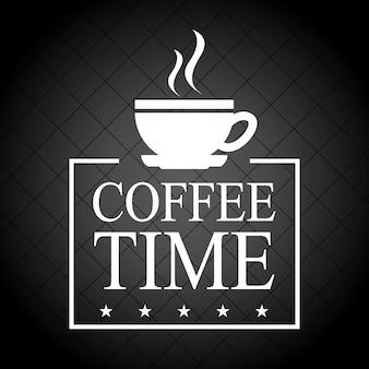 Czas kawy na czarnym tle ilustracji wektorowych