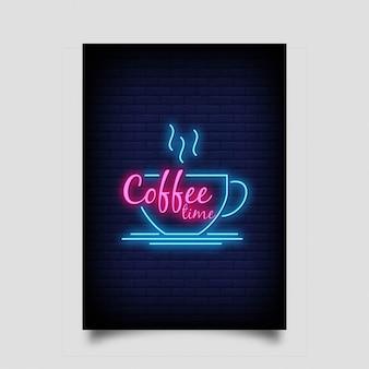 Czas kawy w neonowym stylu z filiżanką kawy