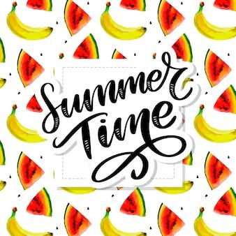 Czas letni akwarela bezszwowe wzór z bananami. ręcznie rysowane tropikalny. ilustracja letnich owoców.
