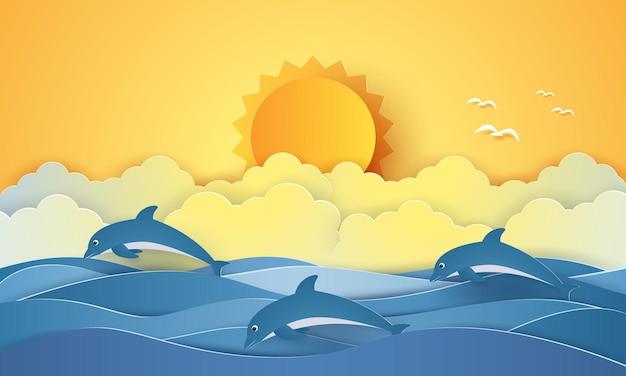 Czas letni, morze z delfinami i słońcem, papierowy styl artystyczny