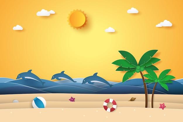 Czas letni, morze z delfinami, plaża i drzewo kokosowe, papierowy styl artystyczny