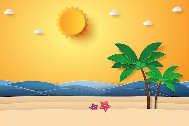 Czas letni, morze z plażą i drzewem kokosowym, papierowy styl artystyczny