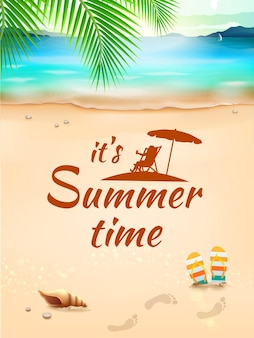 Czas letni na tle pejzaż morski, plaża, fale z realistycznymi przedmiotami. ilustracja