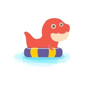 Czas letni słodkiego dziecka dinozaura w pływaniu i gumowy pierścień dino kreskówka unoszący się na nadmuchiwanym